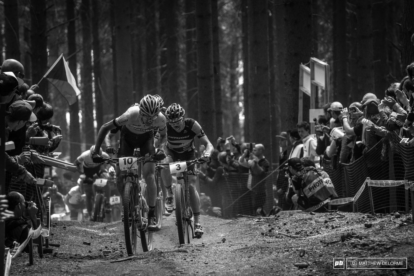 Tempier dragging Marotte up the long climb. Tempier finished sixth on the day and Marotte took fourth.