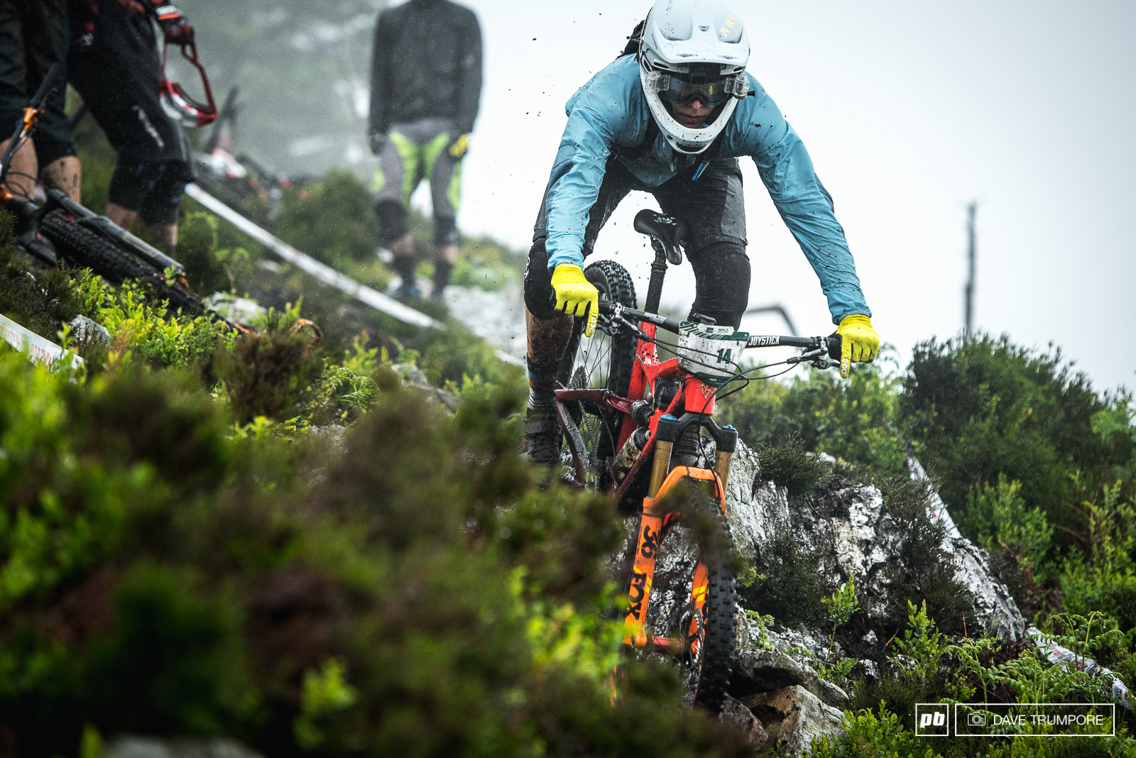 Robin Wallner dodging rain and fallen riders all the way down Stage 5.