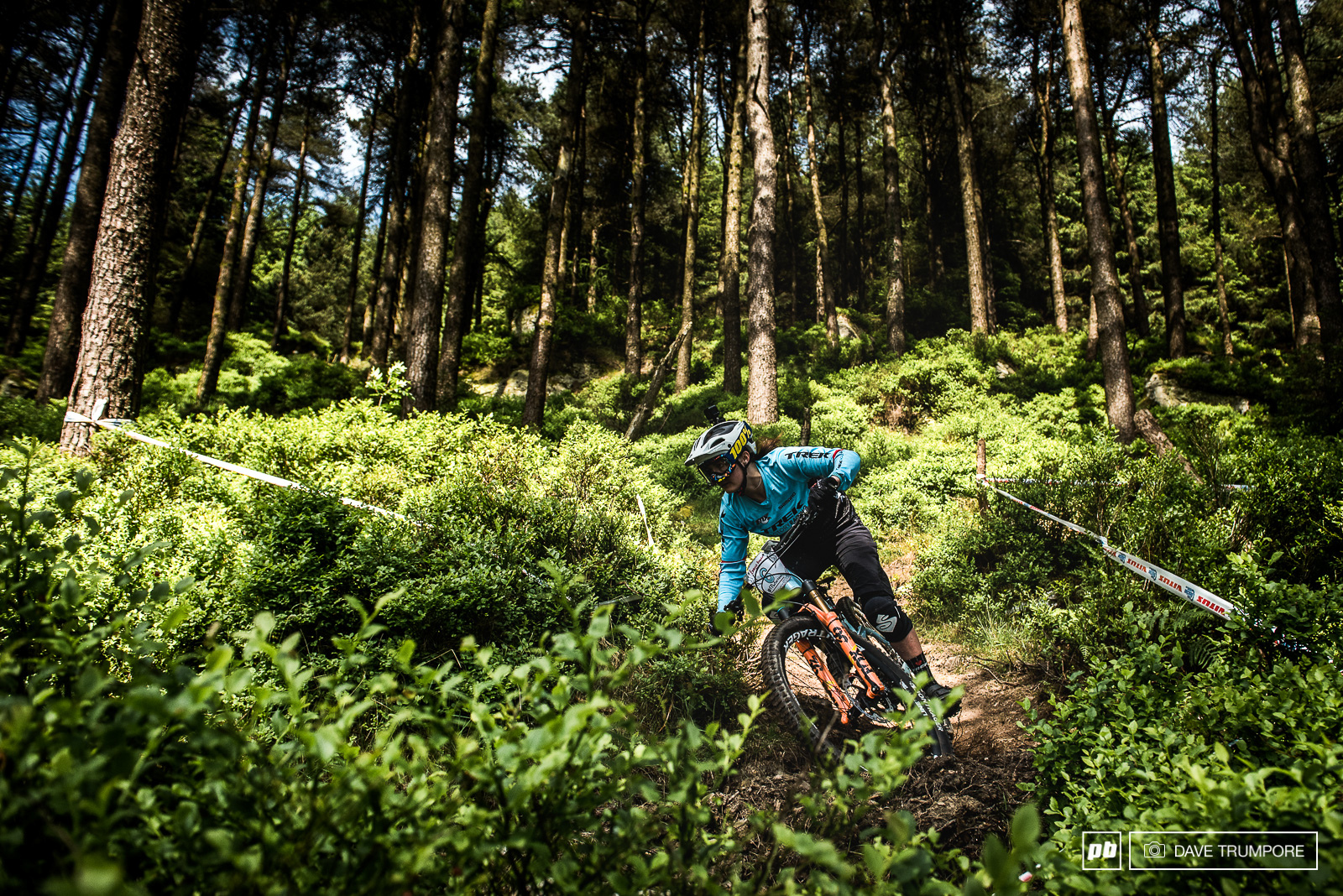 Katie Winton darts through the forest on the fresh cut Stage 1.