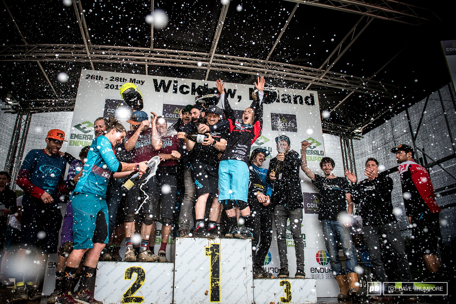 The fastest teams at the Emerald Enduro making it rain in an otherwise dry day.