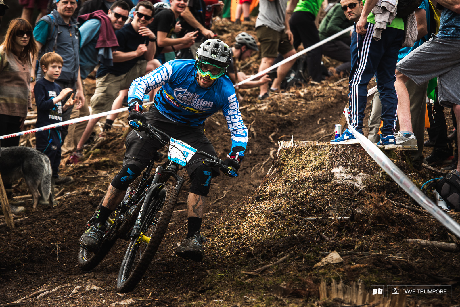 Foot out flat out and fast as for Sam Hill in the slippery Irish dirt.
