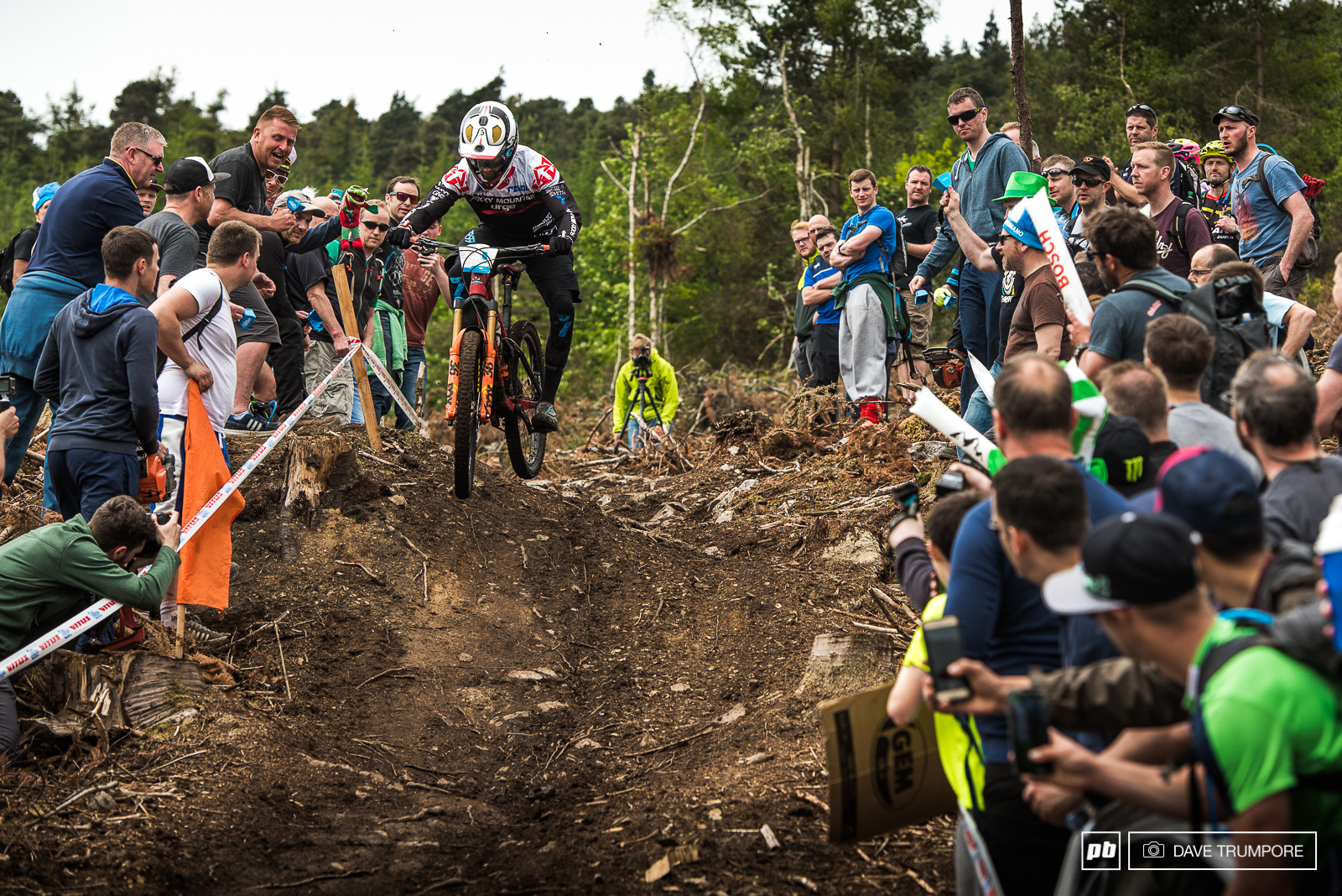 Florian Nicolai storms down the Irish hillside packed to capacity with race fans.
