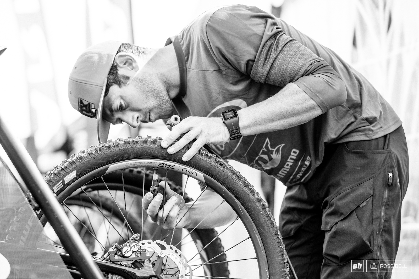 Tire choice and pressures were an important thought process overnight. The experienced Frenchie Francois Bailly-Maitre makes a last check before heading for the start ramp.