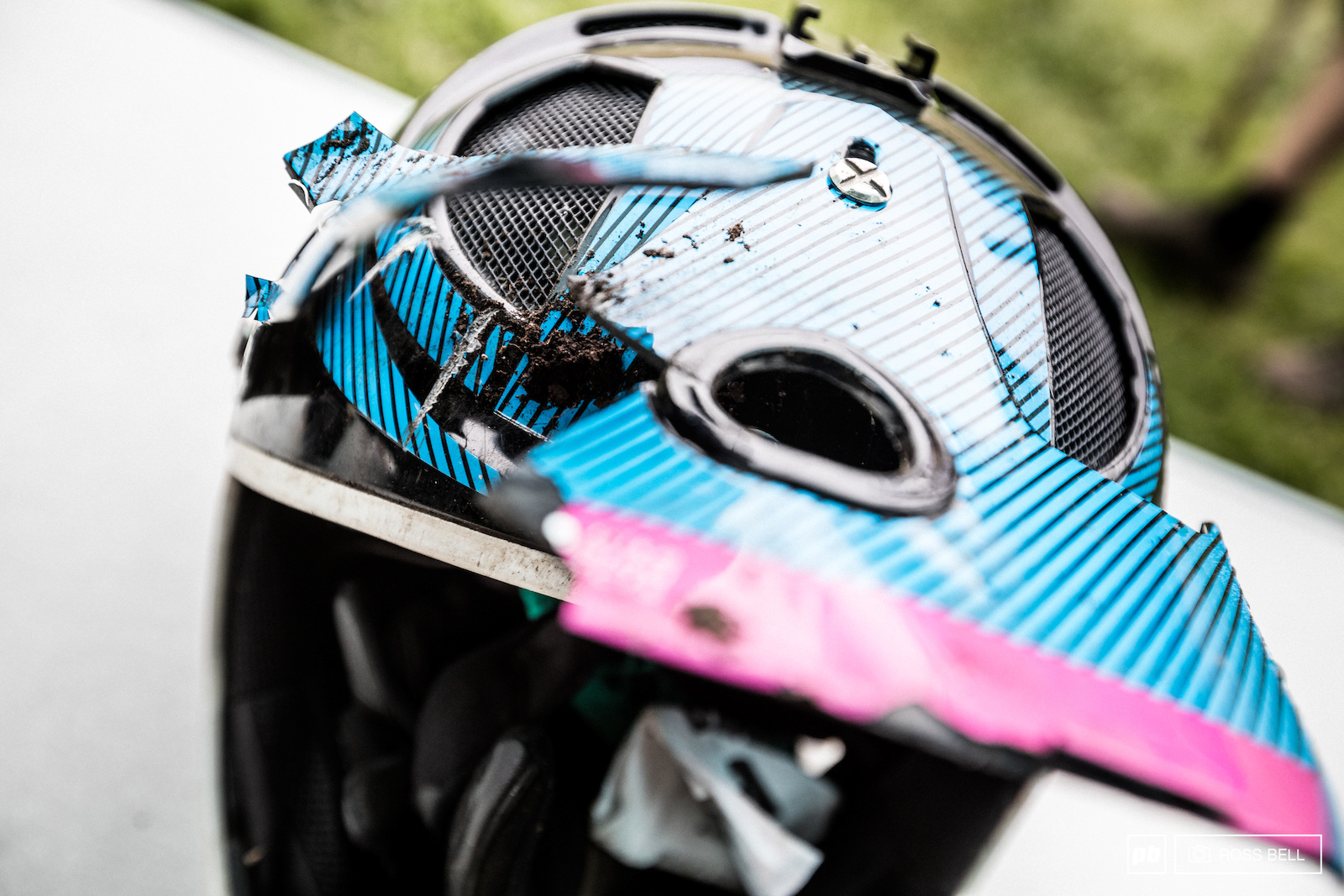 Ines Thoma s helmet bore the full brunt of her crash she hobbled to the finish in 10th before heading for a check up at the hospital.