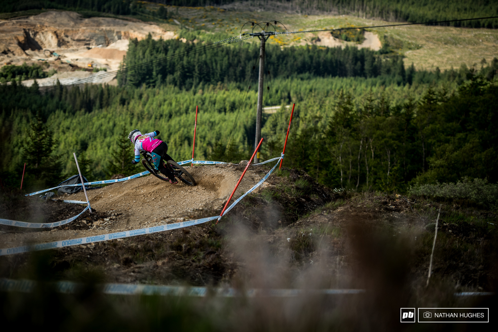 Tracey Hannah going HAM into the second turn of the all new section under the gondola.