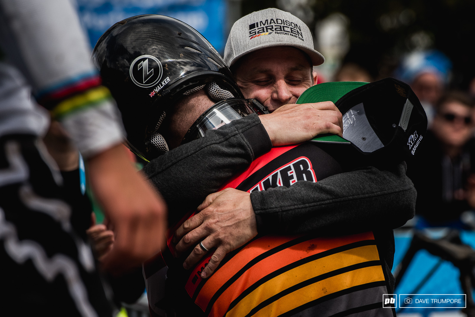 Team Manger Will Longden celebrates with Matt Walker at the finish. Matt would give Great Britain their only victory this weekend on home soil.