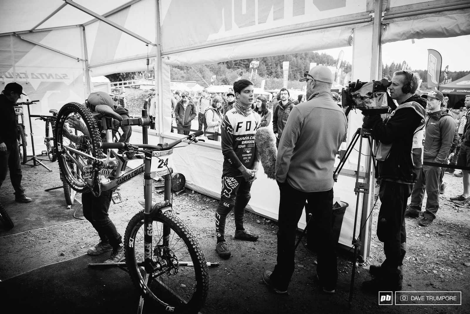 Fort William always draws a ton of media attention from outside the sport. Here Loris Vergier gives an interview to the BBC.