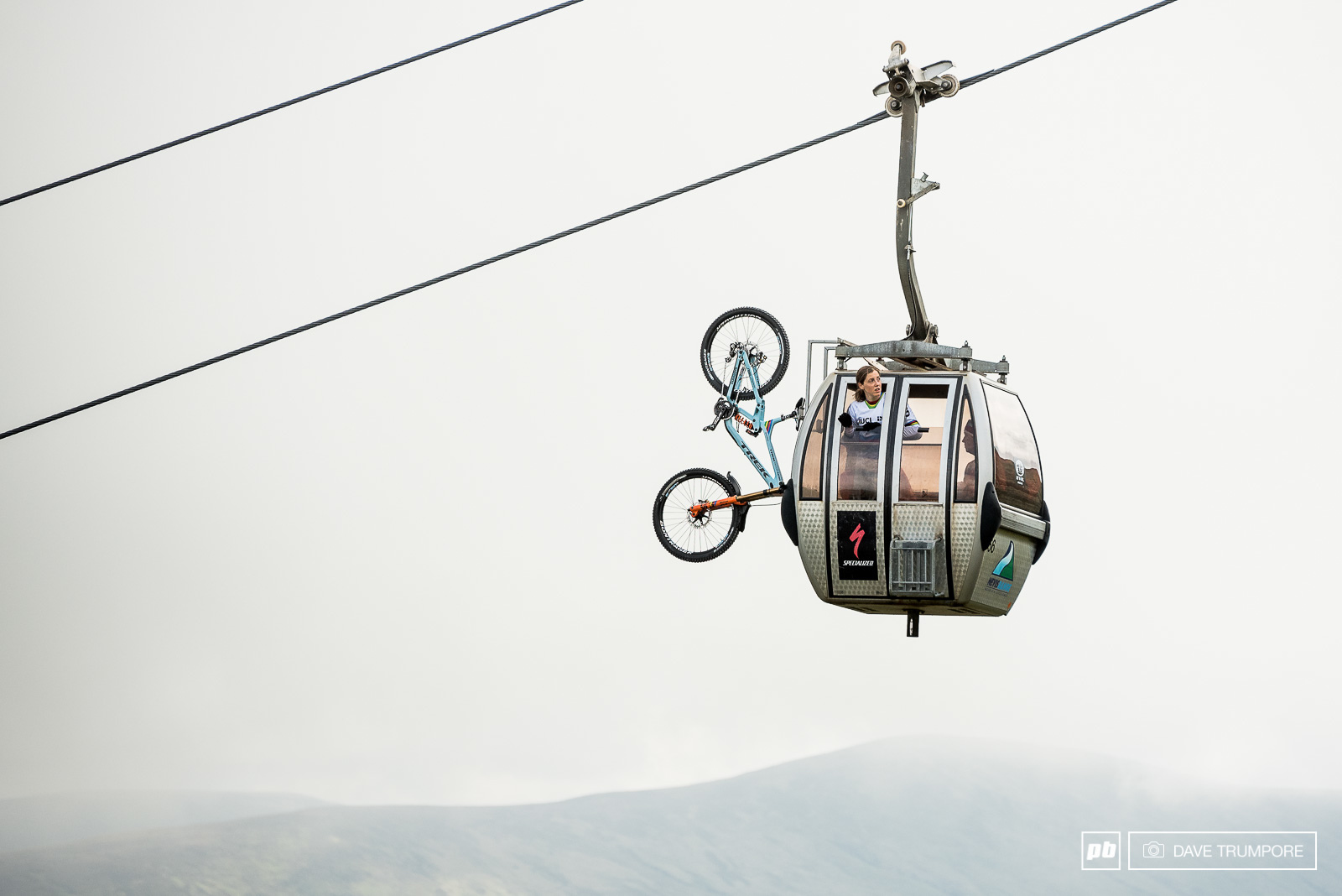 Rachel Atherton checking lines from the gondola in training on what sadly would be her final trip to the top of the track