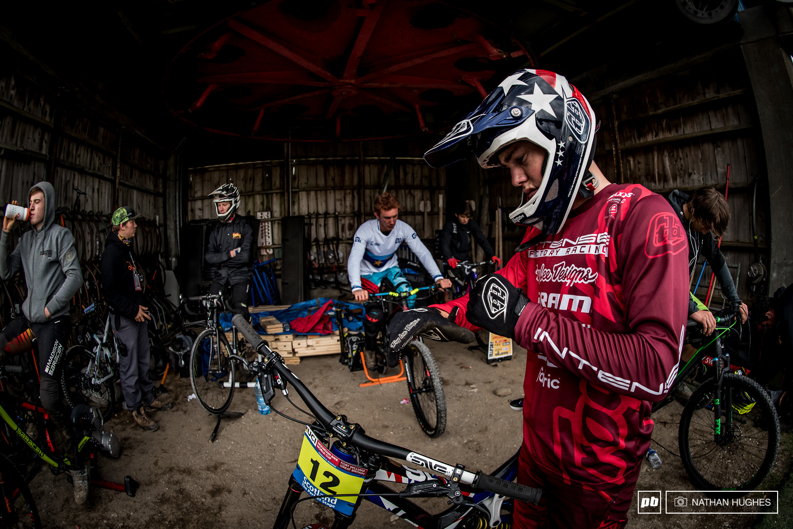 Nik Nestoroff prepares for battle in the warm up shed up top.