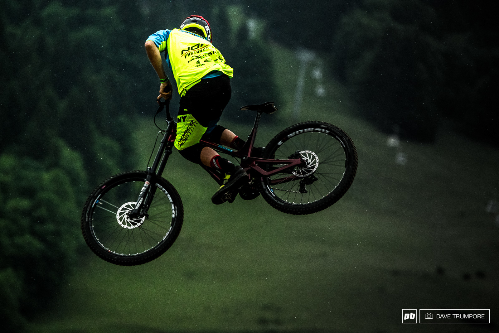 Sam Blenkinsop always go for the long and slow whip that doesn t full extend until he is well out over the landing.