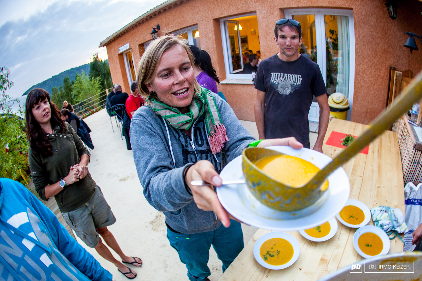 Anka Martin gets her second serving of pumpkin soup in the second day of the Trans Provence 2011.