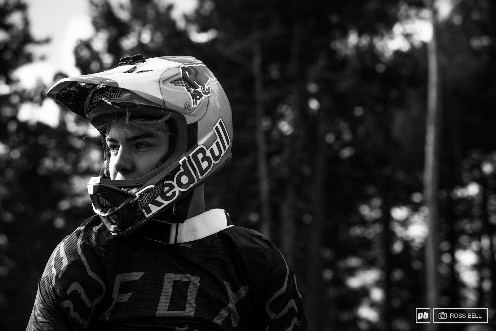 Finn Iles catches his breath and regains focus after a lairy moment in the open berms.