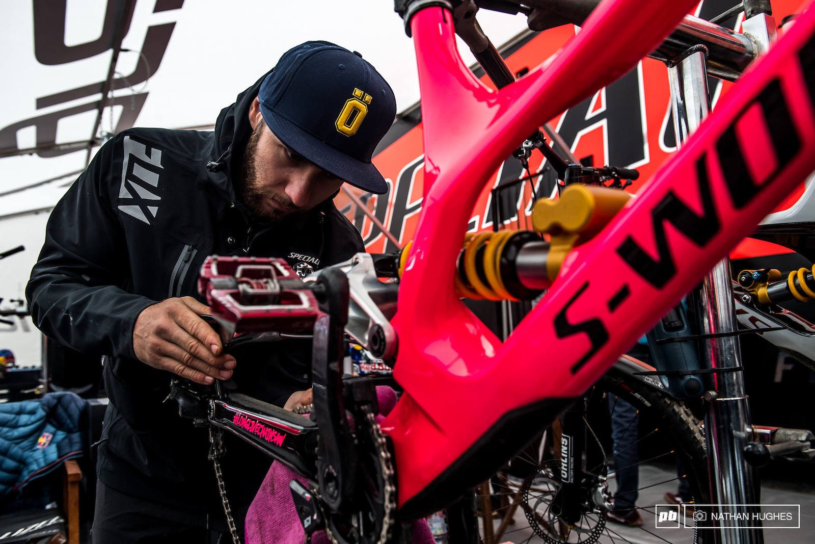 Kevin Joly working on Pinkbike.