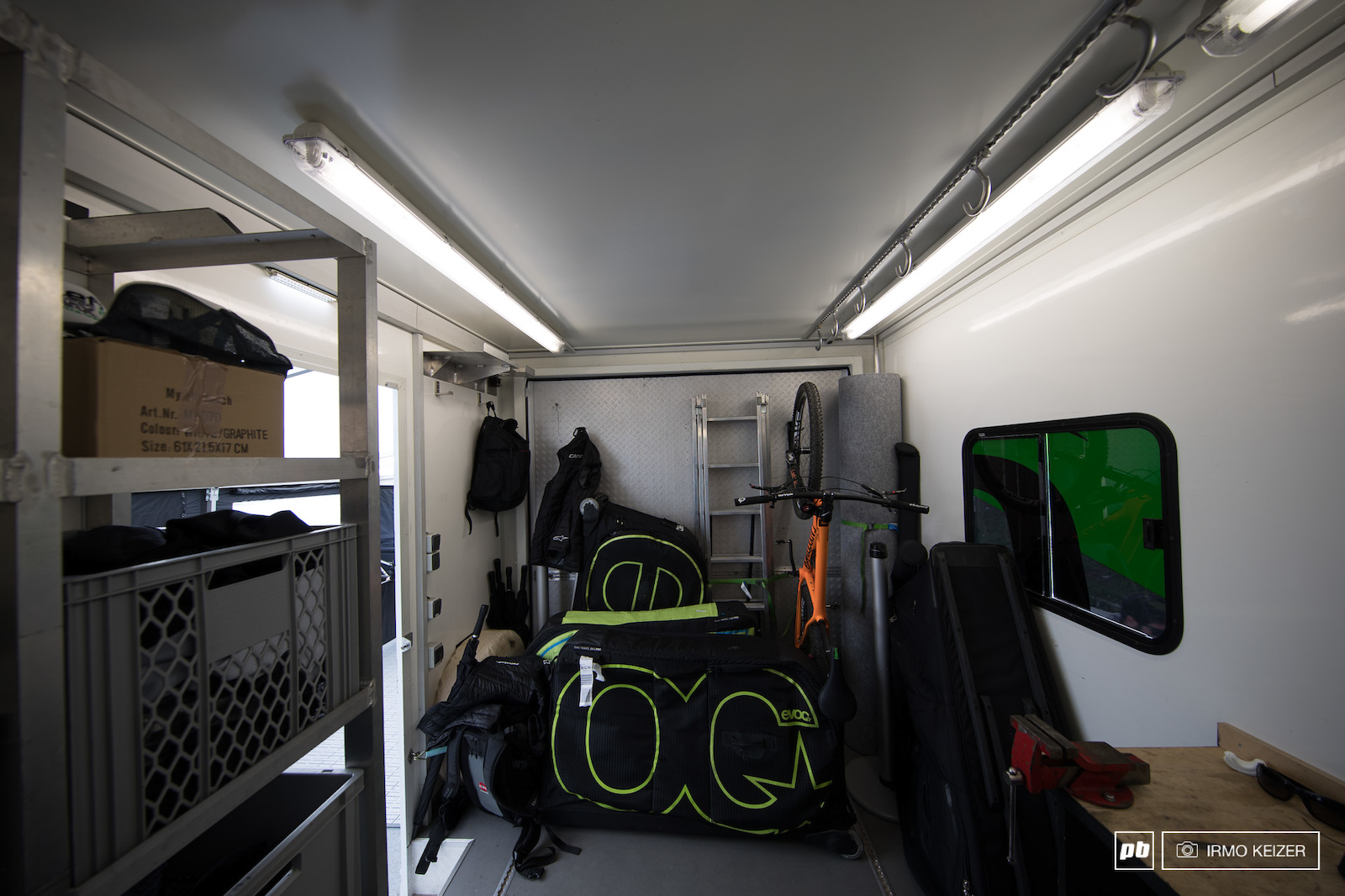 The back of the truck is used as additional storage. Bikes are not brought in the truck as these are transported with the team s sprinters.