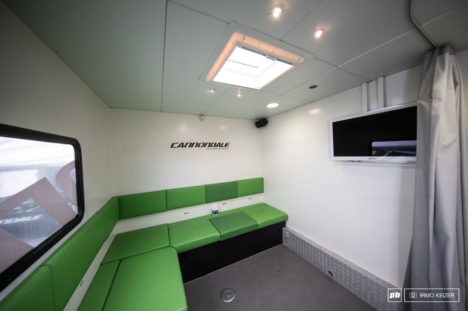 Adjacent to the kitchen is where riders keep their kits. Every rider has their own storage. The room can also be used for video gaming watching movies or having dinner. Plus it is rumoured to have housed more then one party.