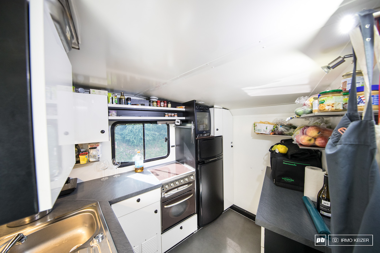 A fully equipped kitchen. This is where the magic happens. A hot air oven grill cooking plate and steamer provide the chef s backbone. Fridges can be found throughout the truck.