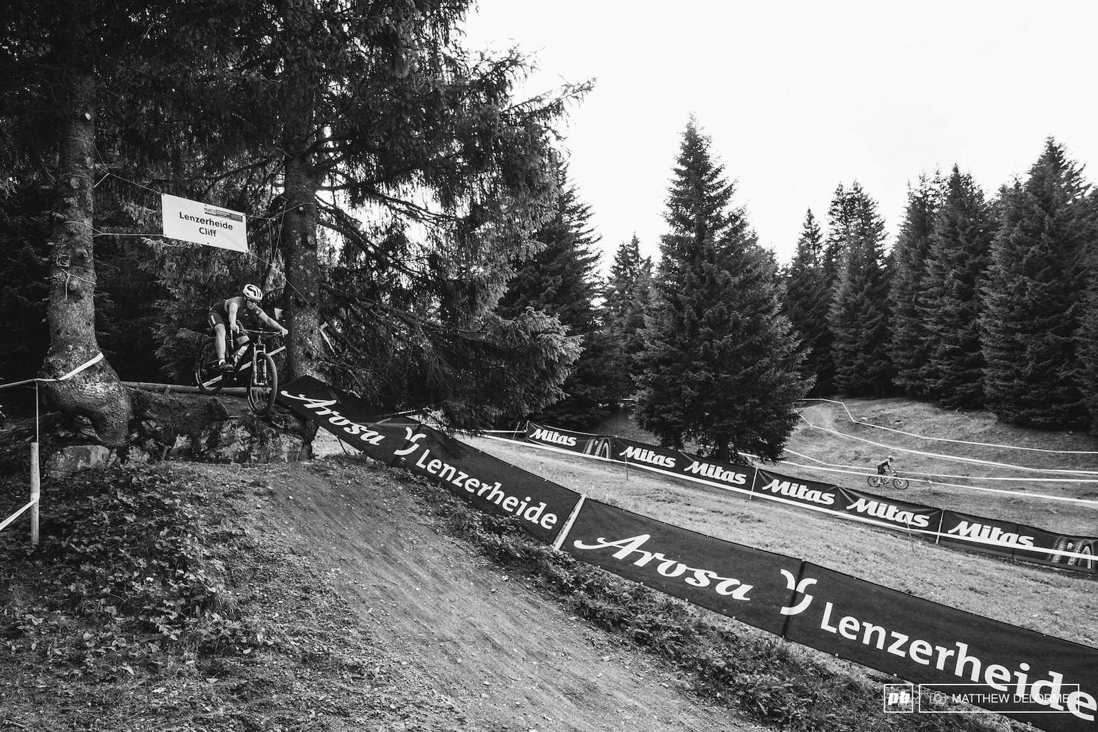 The Lenzerheide Drop. Yes there is a B Line. Yes the feature is like butter.