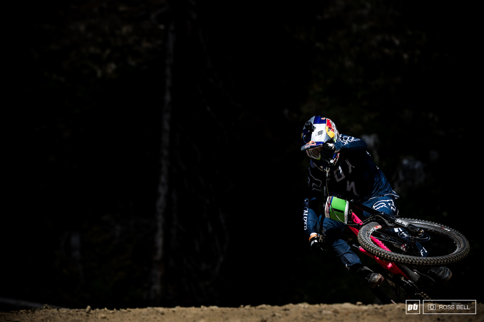 Finn Iles means business here scrubbing hard to maximise speed on the flat out track.