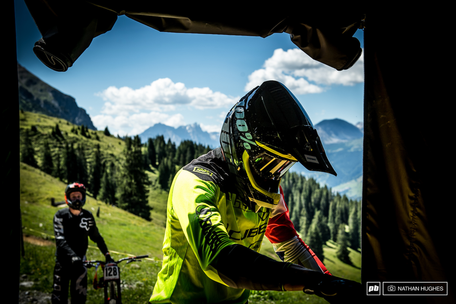 Greg Williamson arrives at work for the day. He is a professional downhill mountain biker.