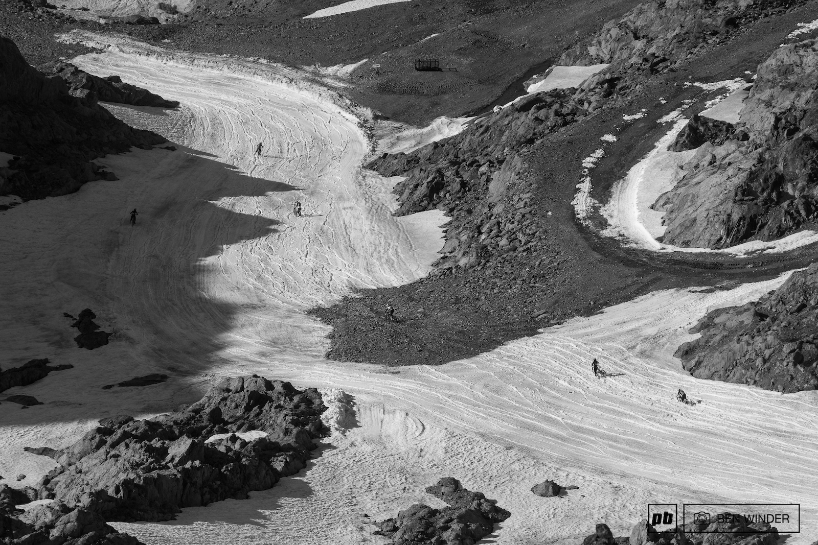 It s difficult to keep the bike moving through this section of the glacier.
