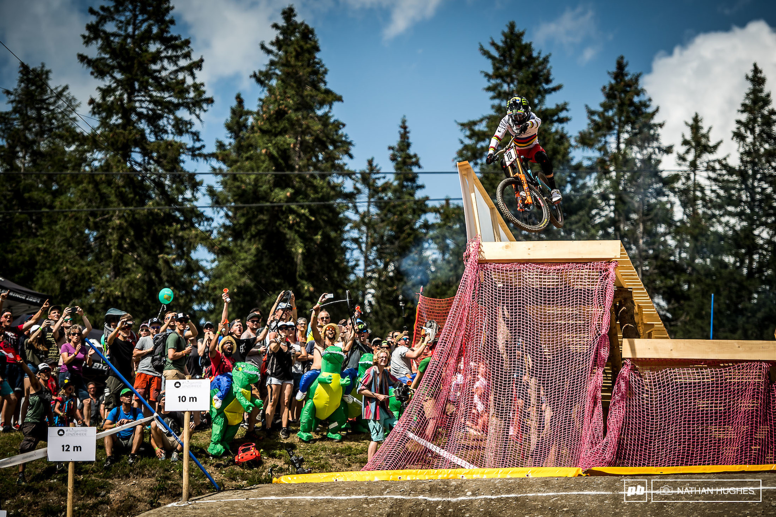 Danny Hart launching of the freeride sender infront of the roaring crowds.