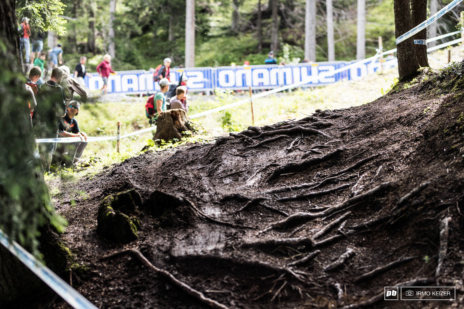 A night of rainfall had turned a dry and dusty track into a slick slippery challenge.