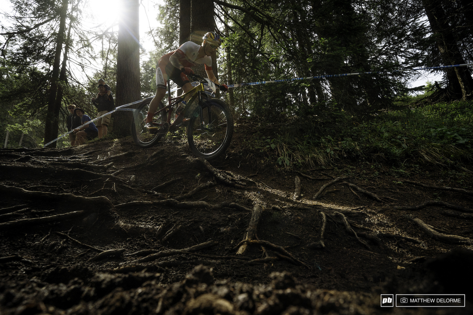Simon Andreassen Takes the high line to avoid the roots.