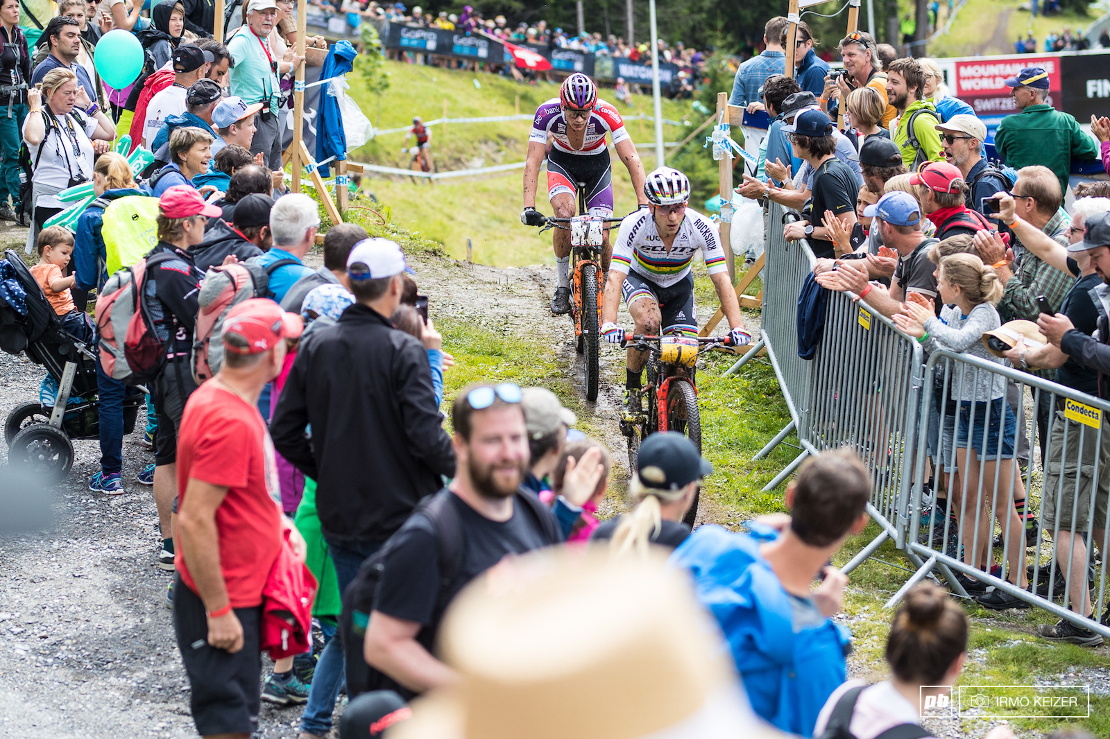 Early in the race Schurter and Van der Poel set the pace.