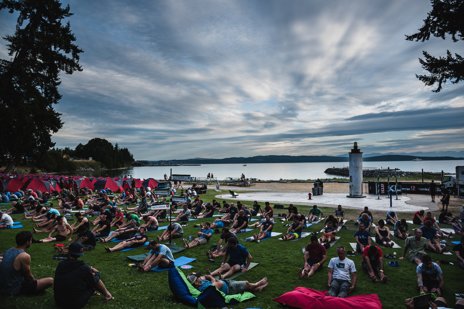 Lululemon hosts yoga classes every evening for racers and staff.