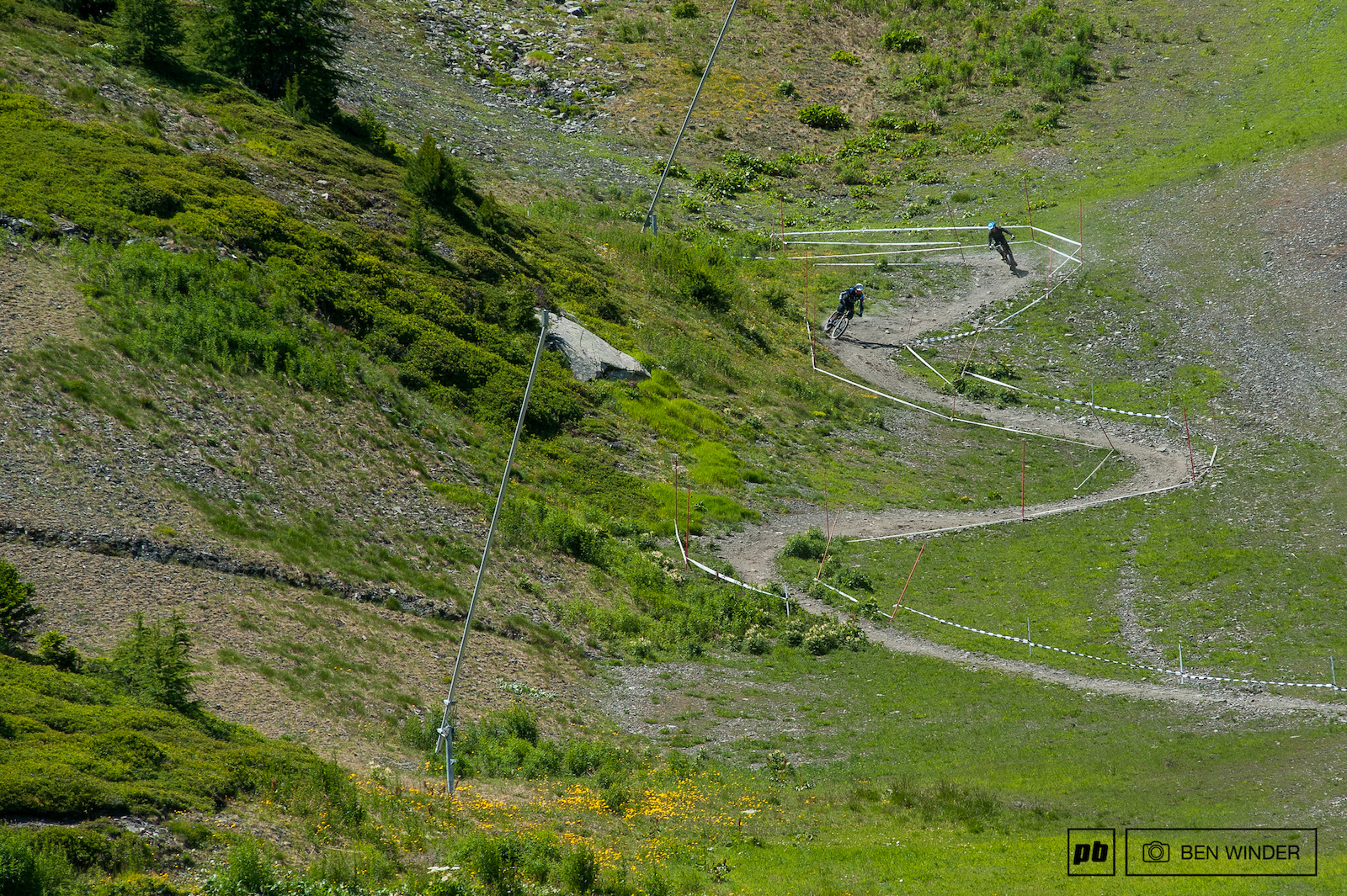 The stages snake down through ski pistes.