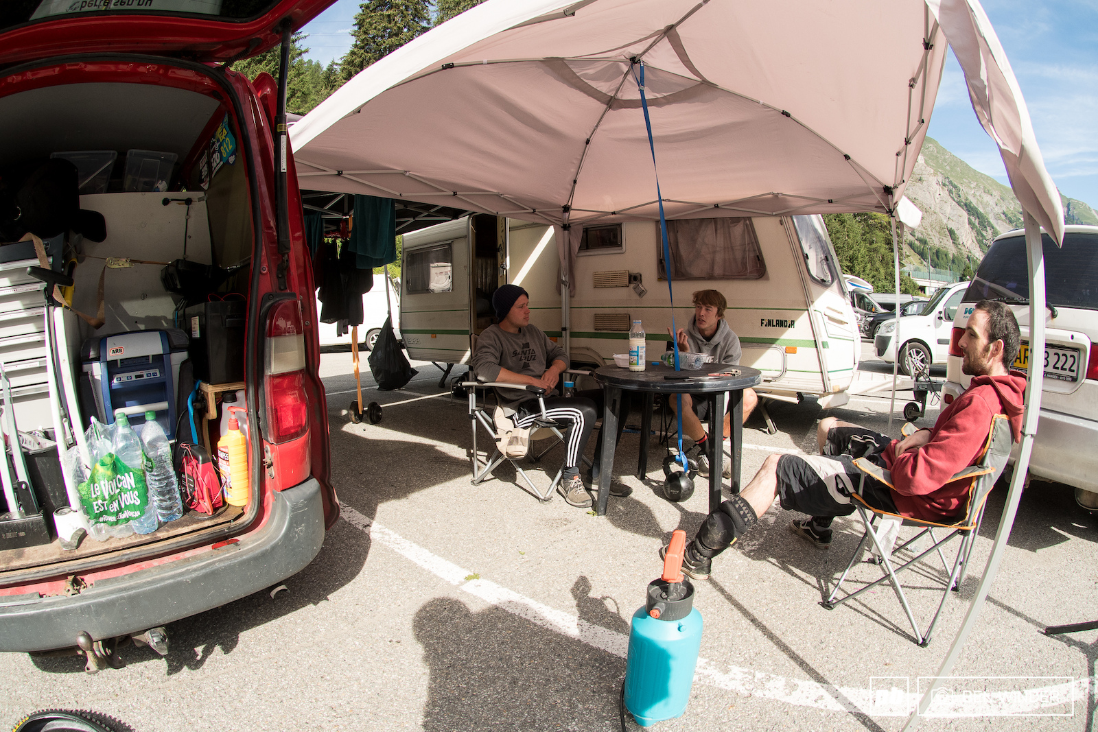 Fred Leth and Bob Bertelsen are from Denmark and have a pretty sweet set up in the car park.