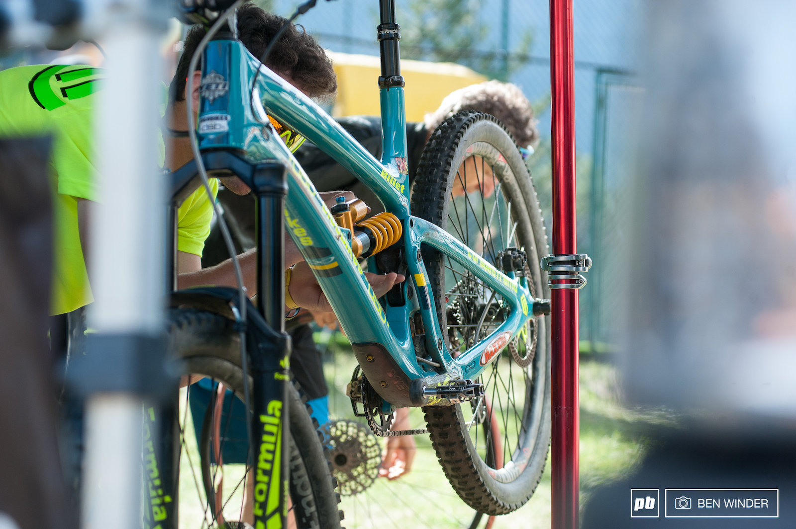 Simone Martinelli decided to try out a coil shock here the long rough stages really make the suspension work.