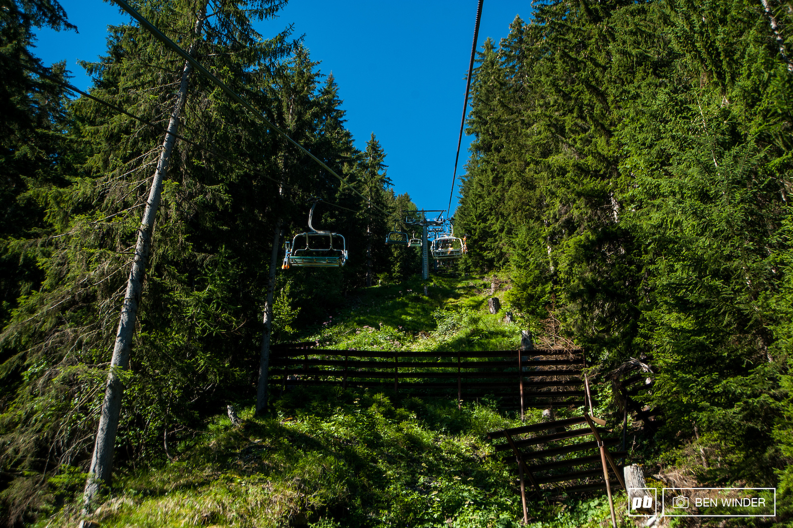 Riders use the chair lift to access three of the stages and pedal to the top of one stage.