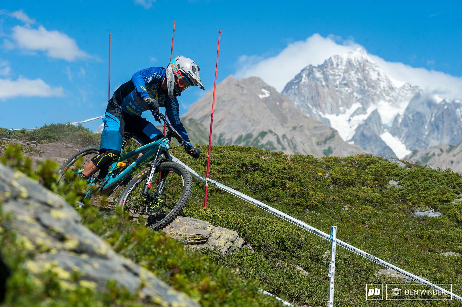 Davide Sottocornola powering past Monte Bianco.