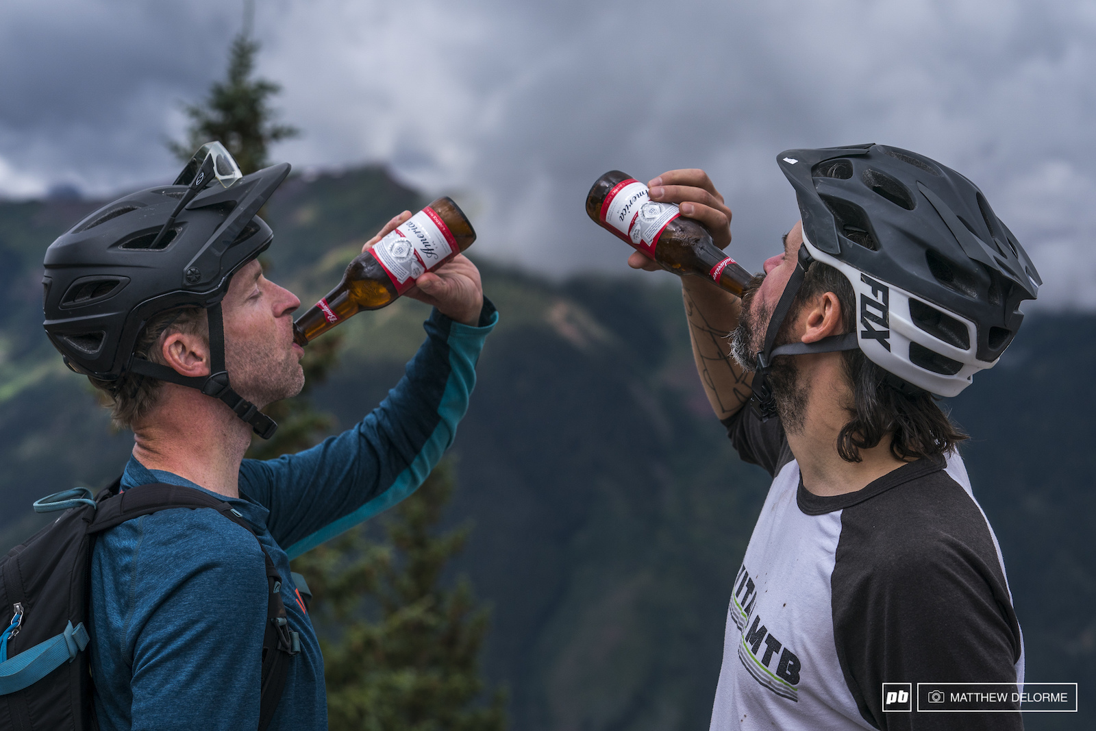 Down the hatch. Dave and Mad Dog Boris chug a crisp Budweiser at the top of stage two. What could be more American besides shoving a Bic Mac and fries down their gullets first