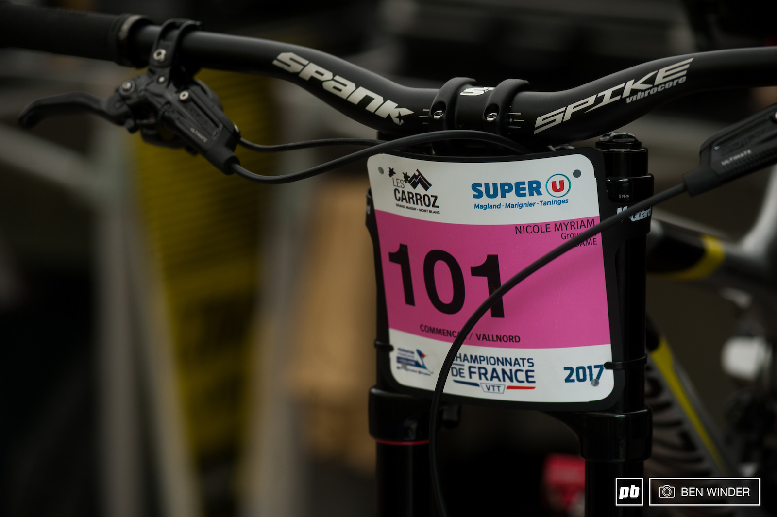 Two number one plates for the Commencal team Myriam Nicole and Thibaut Ruffin.