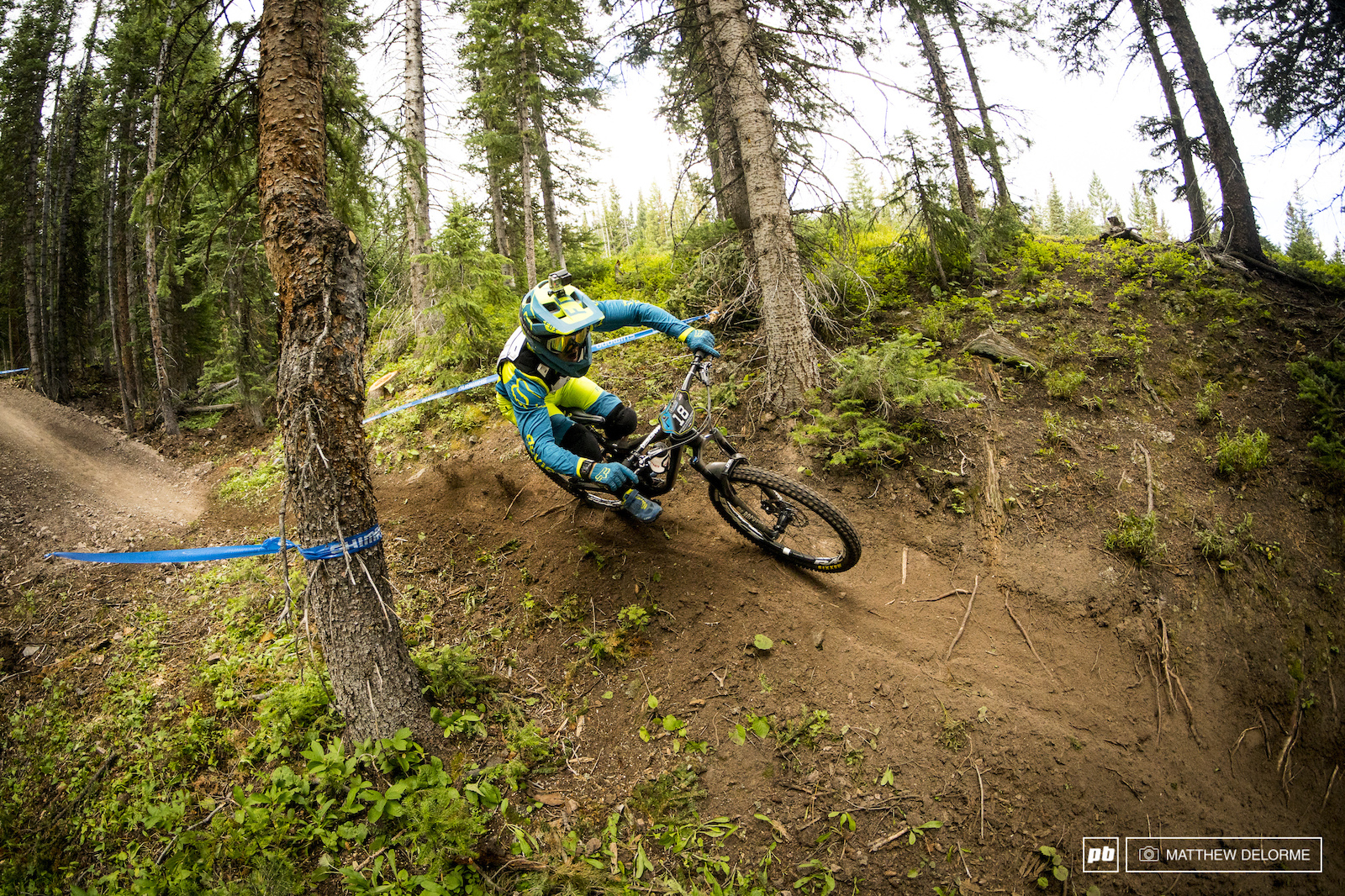 Theo Galy gets his tuck on in the pine forest.