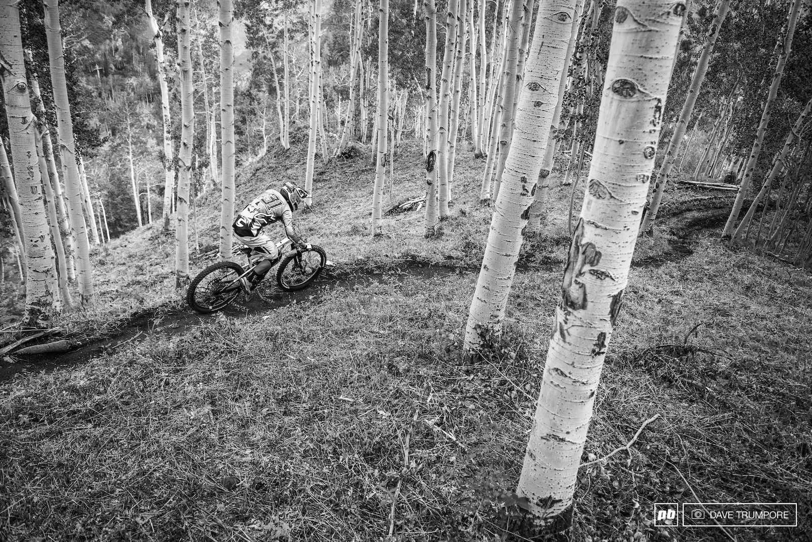 Jerome riders the dirt ribbon between the aspens on stage 2.