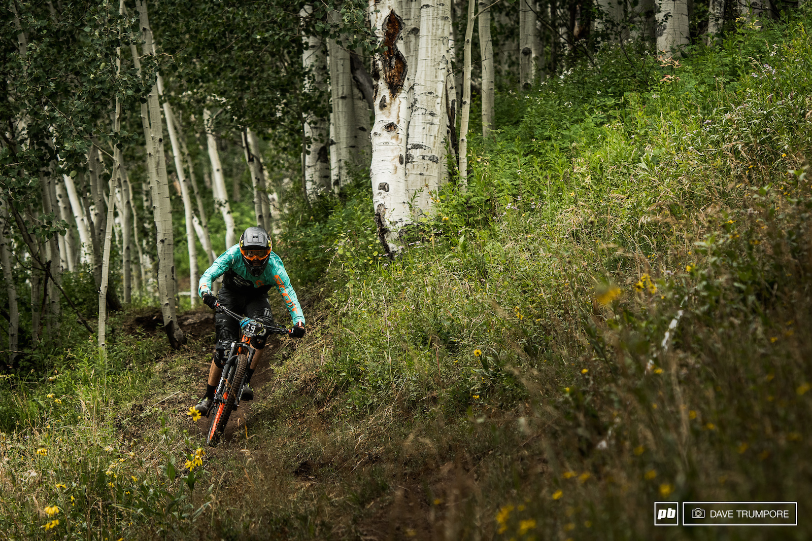Remy Abalone leaves the aspens behind and pins it across one of the many high speed traverses on stage 2.