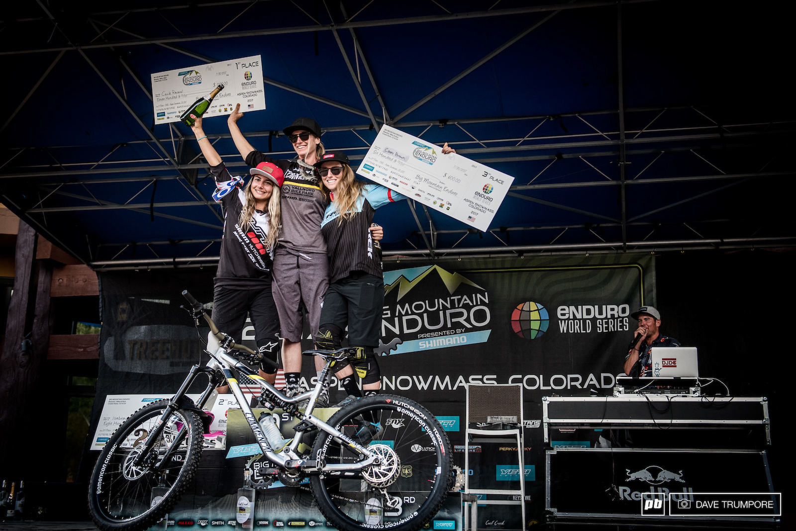 Cecile Ravanel Isabeau Courdurier and Casey Brown top the Women s podium in Aspen.