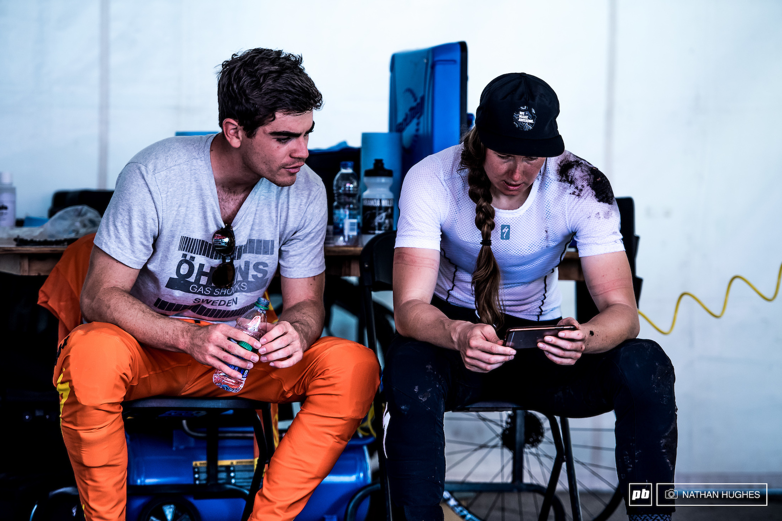 Loic and Miranda check some clips after a spill for the Canadian champ during the morning session.