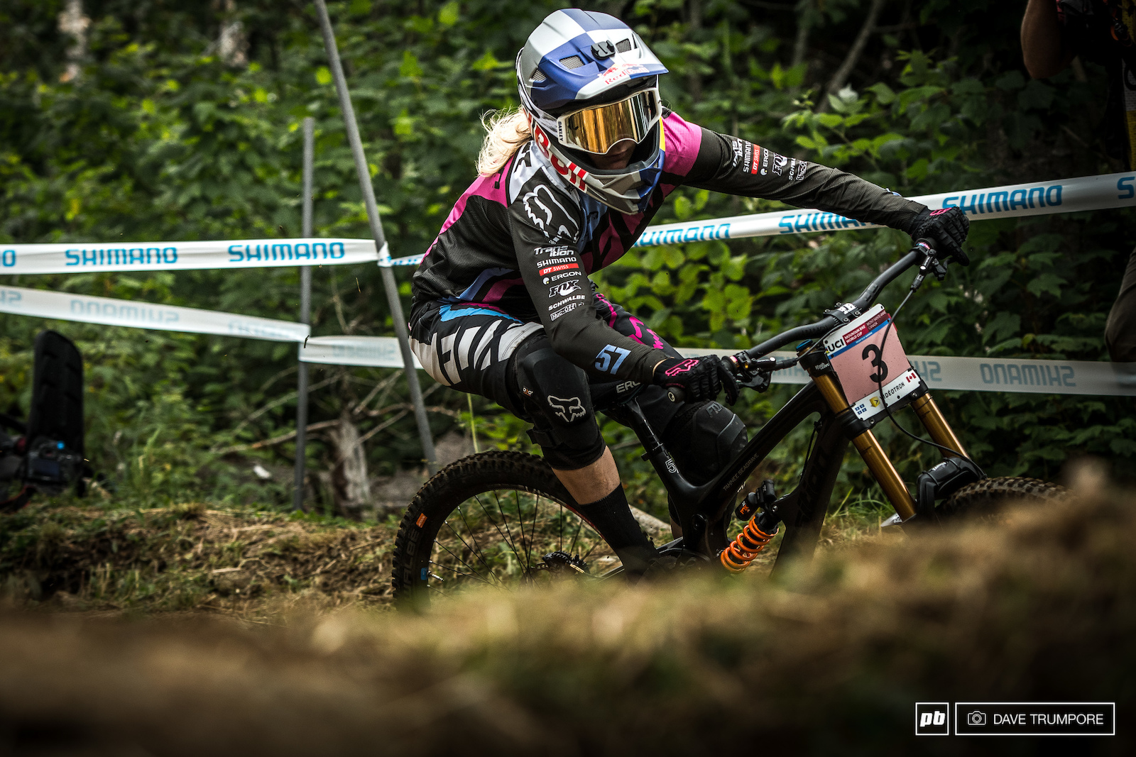 Tahnee Seagrave testing out the grip in the top corners after a night of heavy rain.