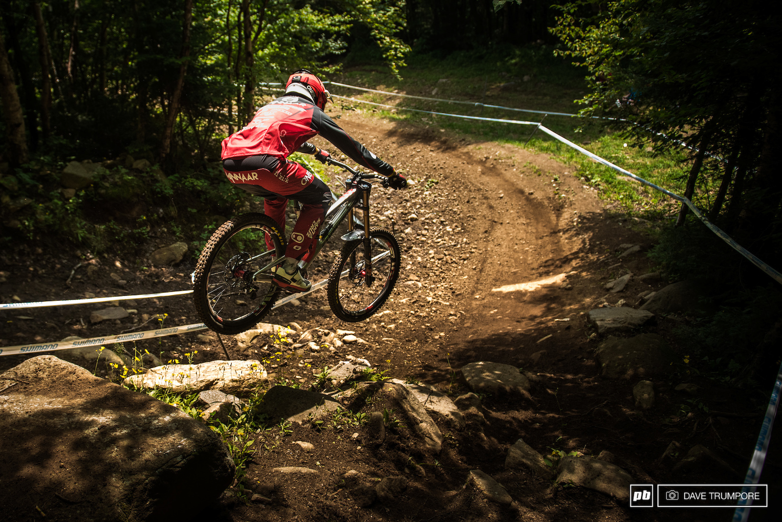 World Cup series leader Greg Minnaar sends in into the fastest part of the track.