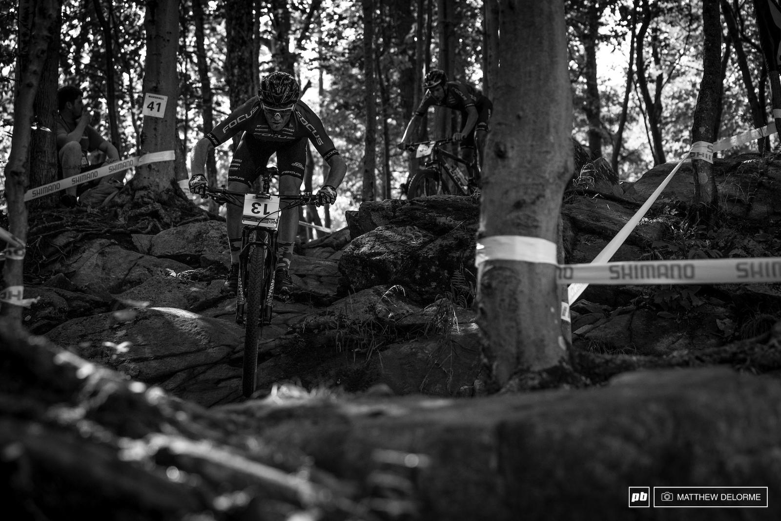 Florian Vogel charging through a dry La Patriote.