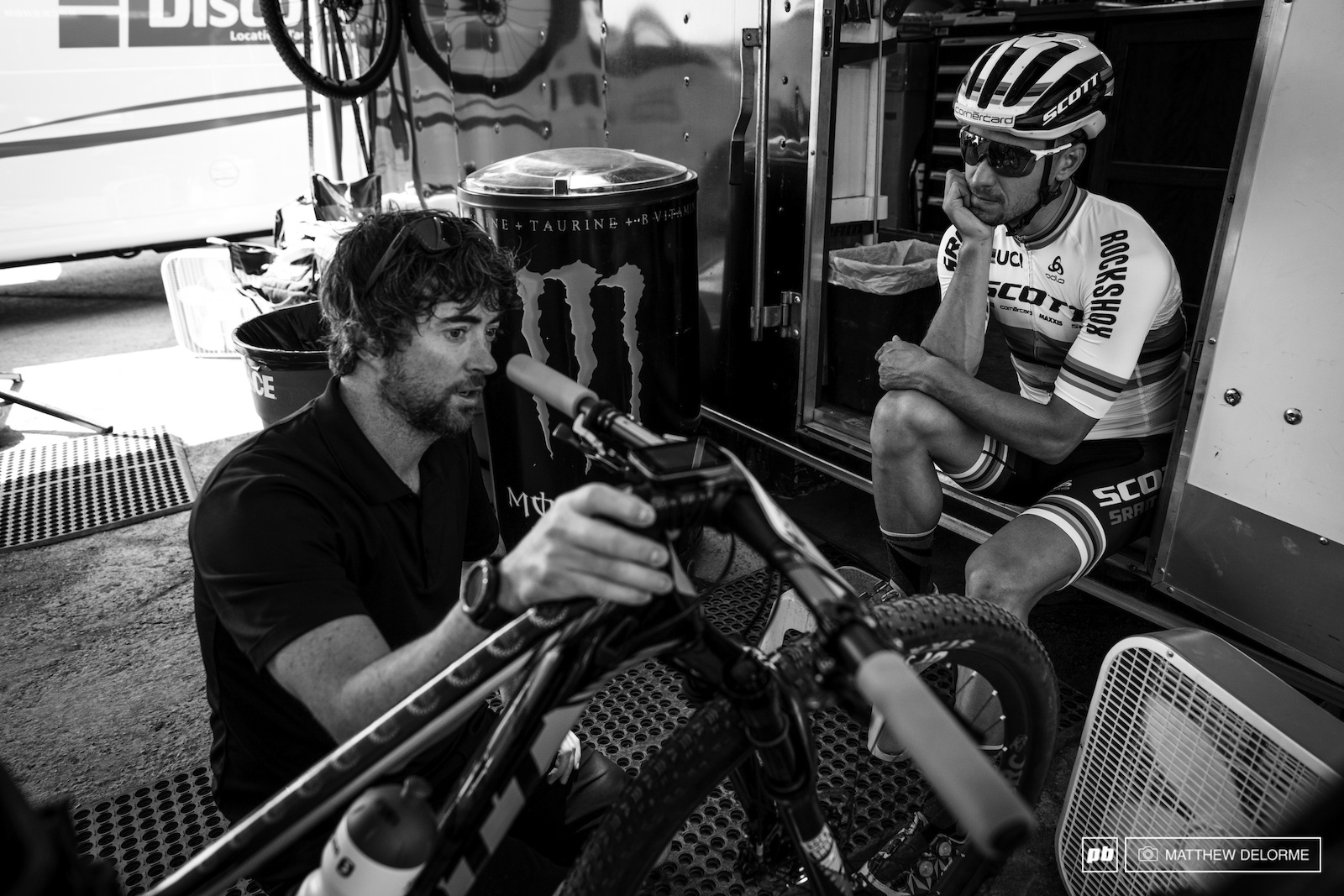 Nino talks suspension settings for the weekend with the SRAM engineers.