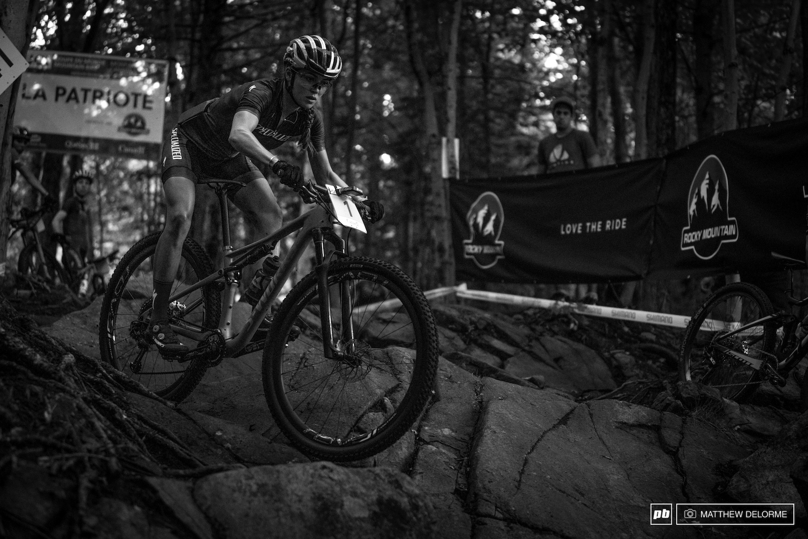Kate Courtney testing the waters after the rain through La Patriote.