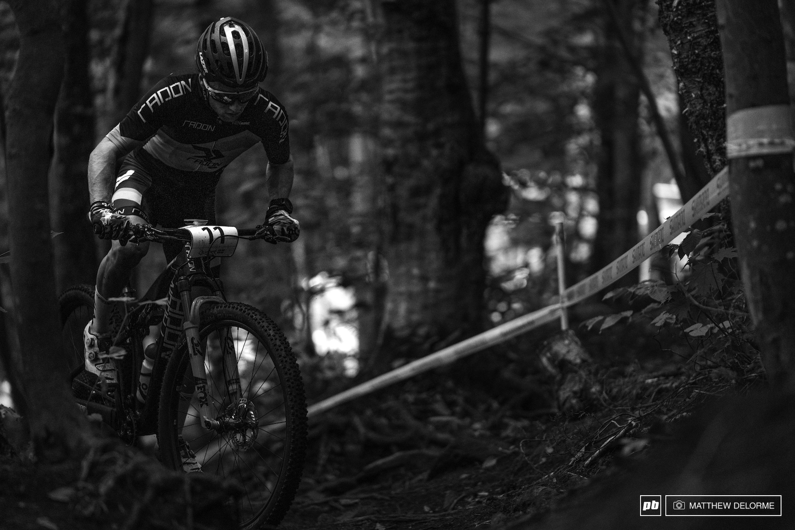 Mathias Flueckiger powers up the punchy woods section climbs.