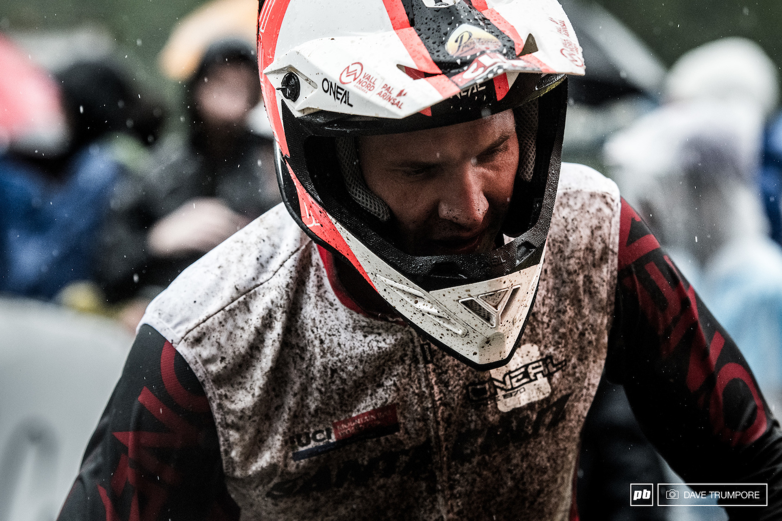 A visibly frustrated and upset Greg Minnaar in the finish arena after his troublesome run.
