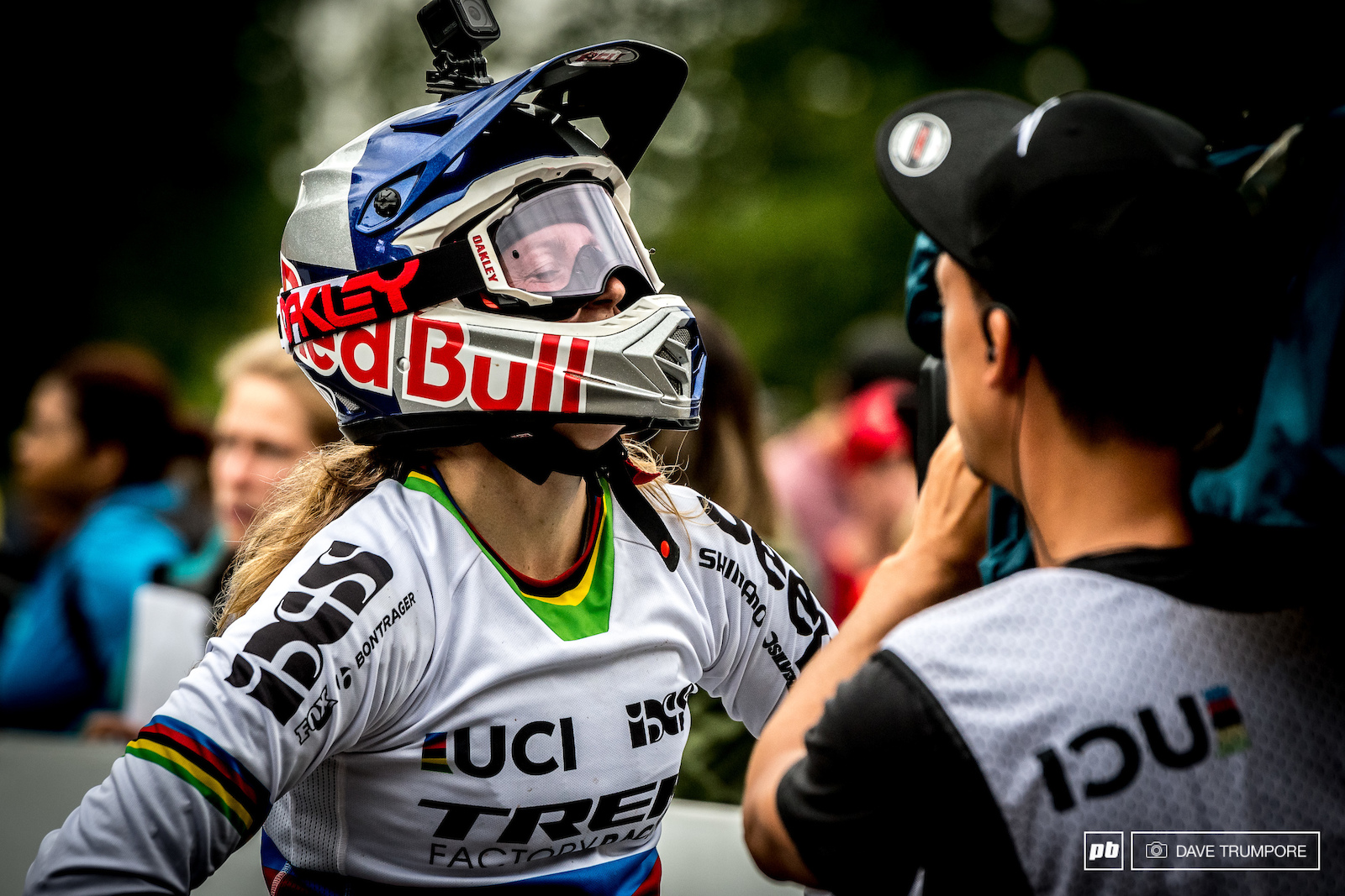 Rachel Atherton relieved to be in one piece after escaping what looked to be a massive crash in her final run. 5th place and healthy enough to battle another day.