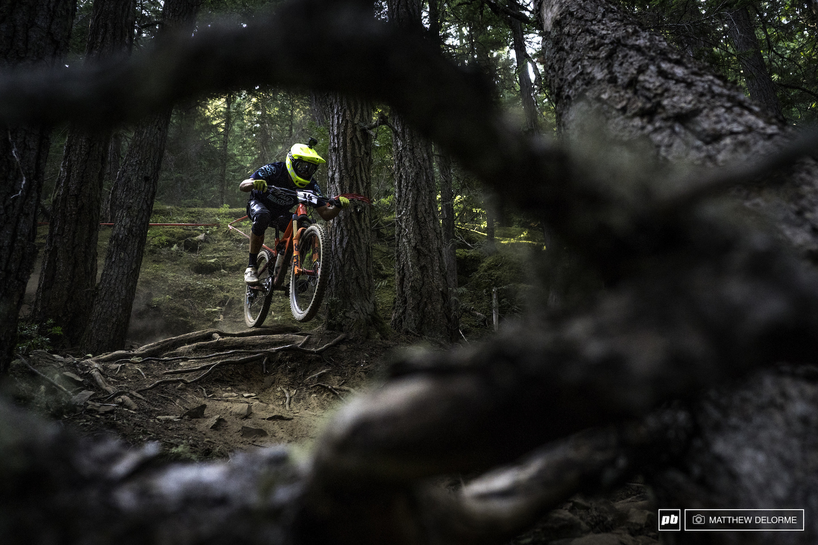 Robin Walner finding that the quickest way through the roots is to not touch them with his tires.
